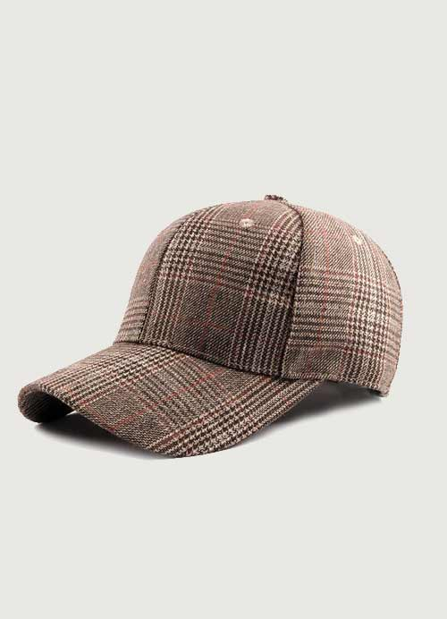 New Women/'s Cotton Plaid Military Cadet Brown And White Hat Adjustable Fit