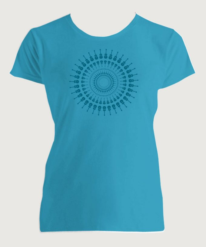 Guitarist's Guitar Mandala 1 Women's Fashion Fit T-Shirt Carribean Blue