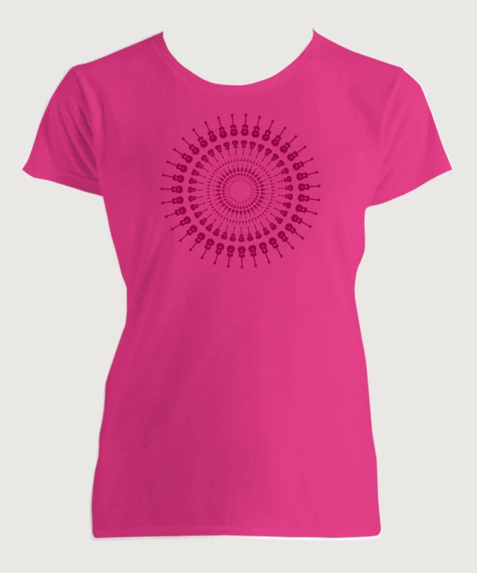 Guitarist's Guitar Mandala 1 Women's Fashion Fit T-Shirt Hot Pink