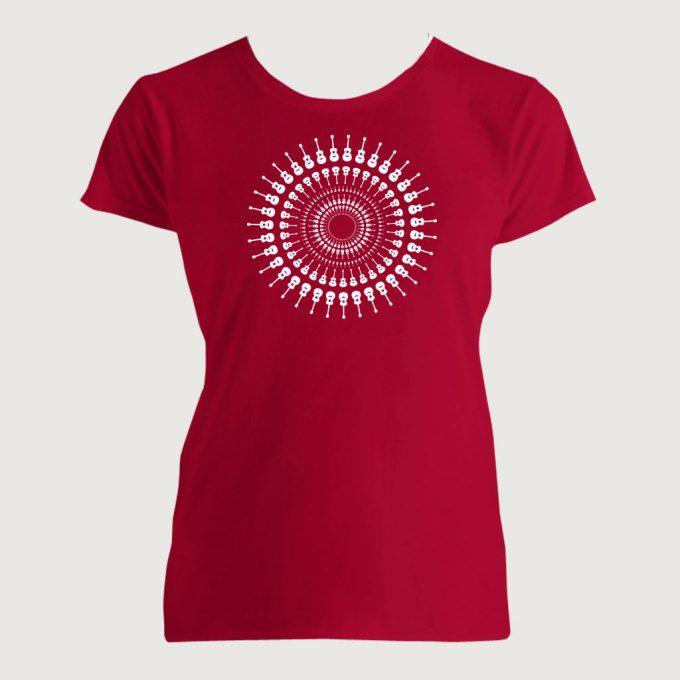 Guitarist's Guitar Mandala 1 Women's Fashion Fit T-Shirt Red