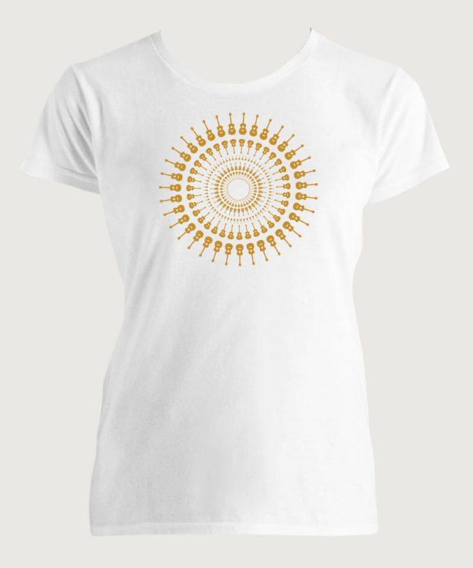 Guitarist's Guitar Mandala 1 Women's Fashion Fit T-Shirt White