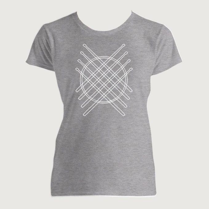 Drummer's Drum Stick Mandala 1 Women's Fashion Fit T-Shirt Heather Grey
