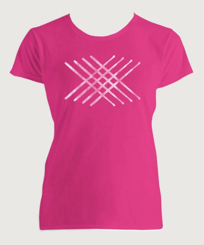 Drummer's Drum Stick Mandala 2 Women's Fashion Fit T-Shirt Hot Pink