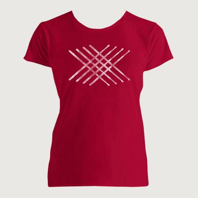 Drummer's Drum Stick Mandala 2 Women's Fashion Fit T-Shirt Red