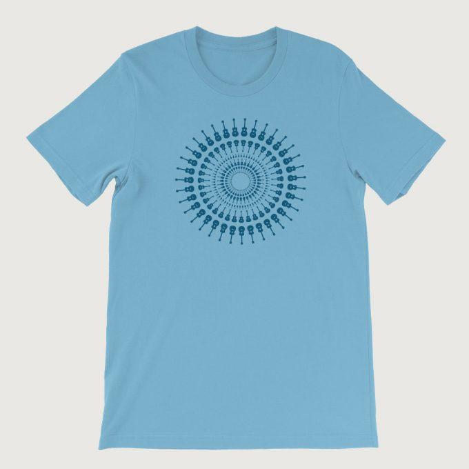 Guitarist's Guitar Mandala men's T Shirt (Unisex) Ocean Blue