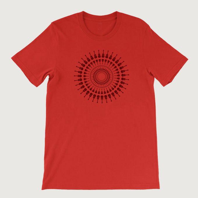 Guitarist's Guitar Mandala men's T Shirt (Unisex) Red