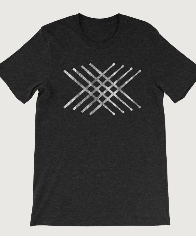Drummers Drum Stick Mandala Horizontal men's T Shirt (Unisex) Black Heather