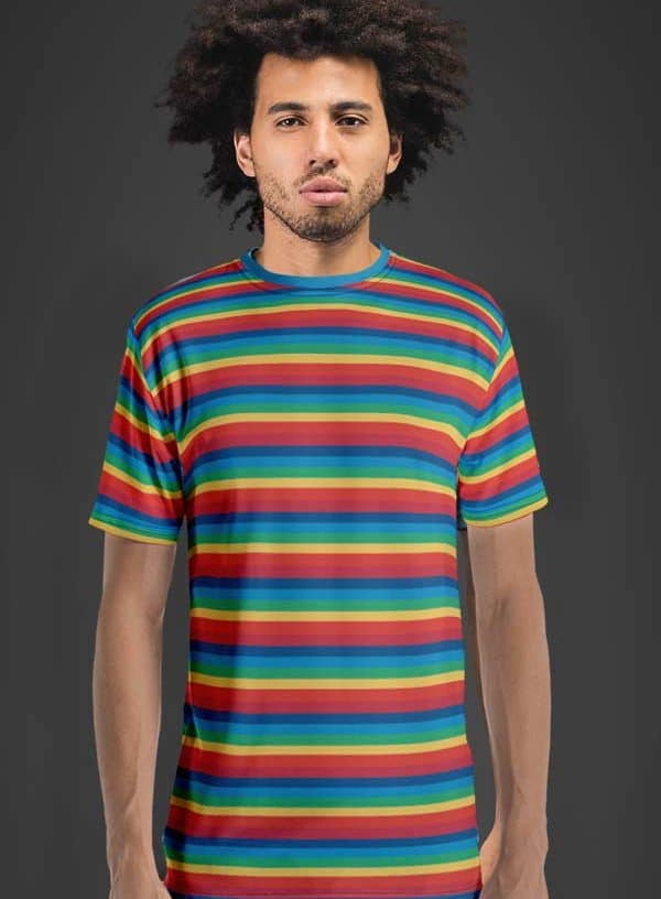 All Over Rainbow printed Men's T-Shirt with Funk Hero Emblem on the sleeve