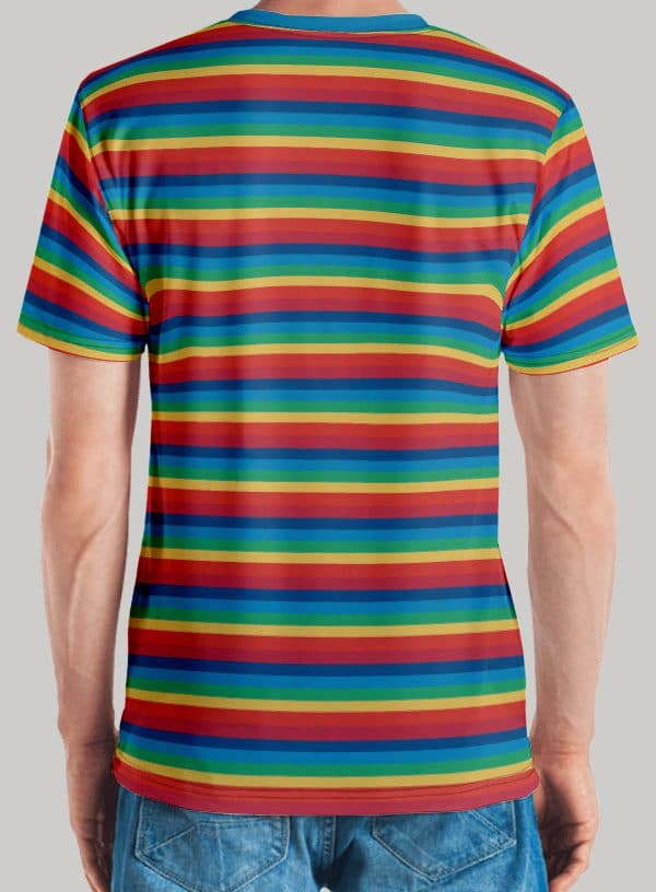 All Over Retro Rainbow printed Men's T-Shirt with Funk Hero Emblem on the sleeve Back View