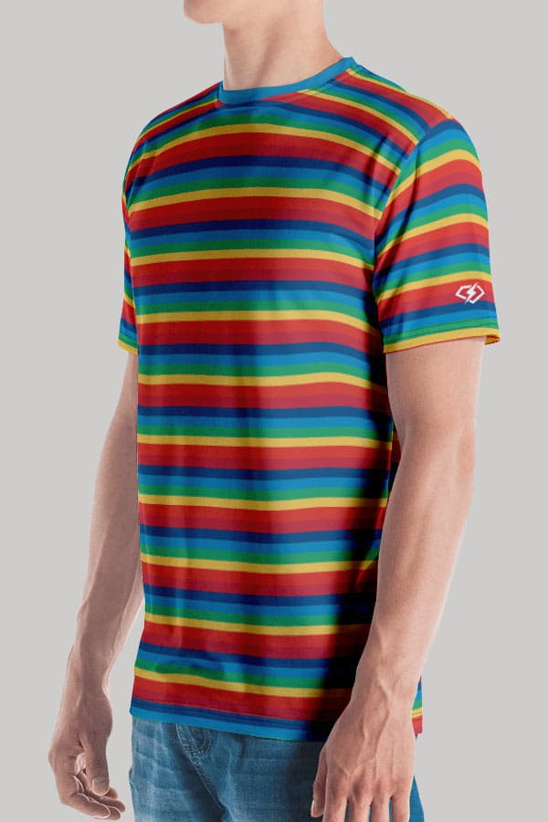 All Over Retro Rainbow printed Men's T-Shirt with Funk Hero Emblem on the sleeve Sleeve View