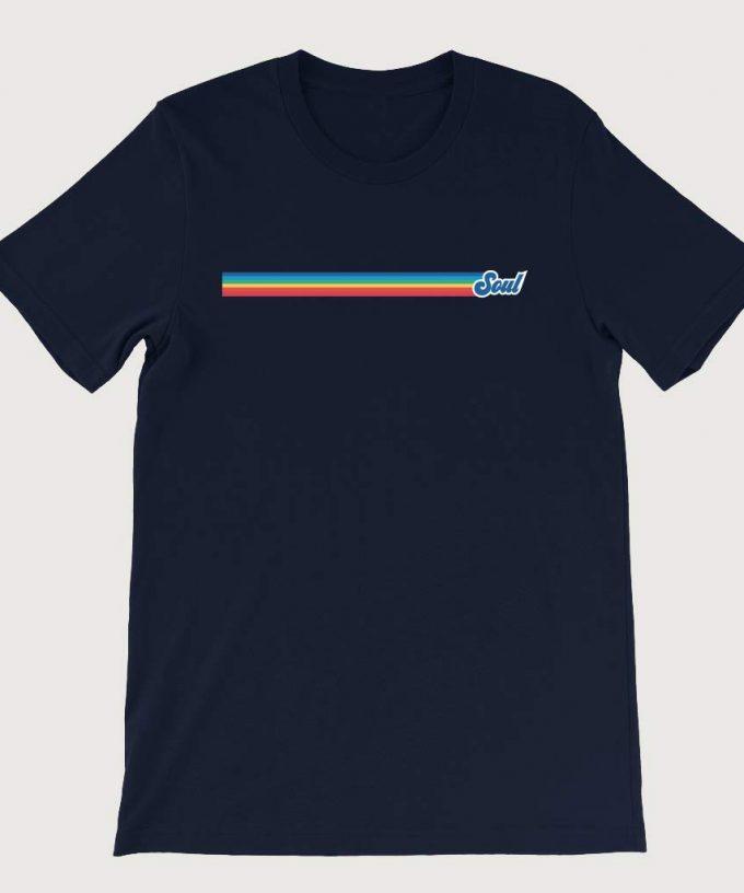 Retro Rainbow Soul Music Mens ( Unisex) T-Shirt Navy Blue