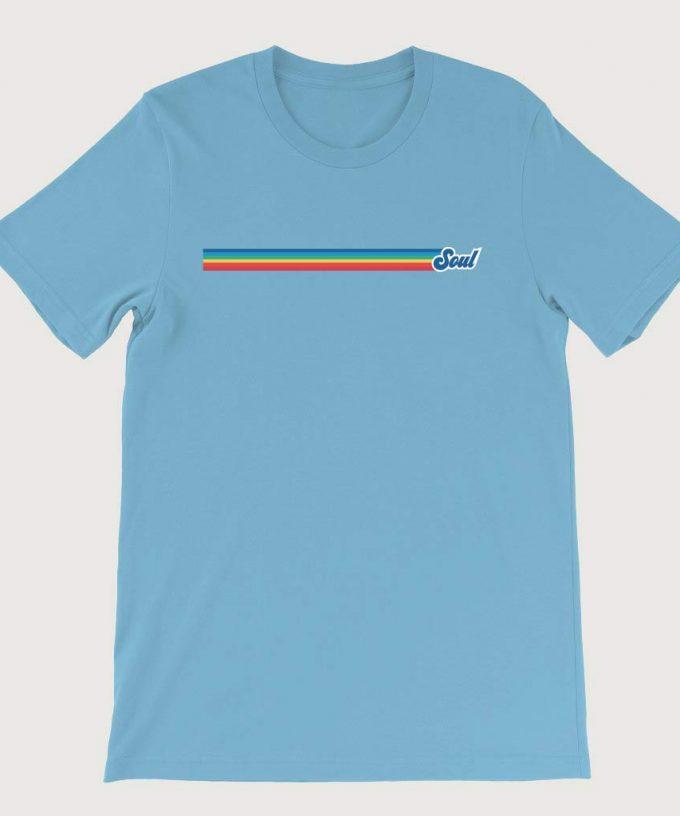Retro Rainbow Soul Music Mens ( Unisex) T-Shirt Ocean Blue