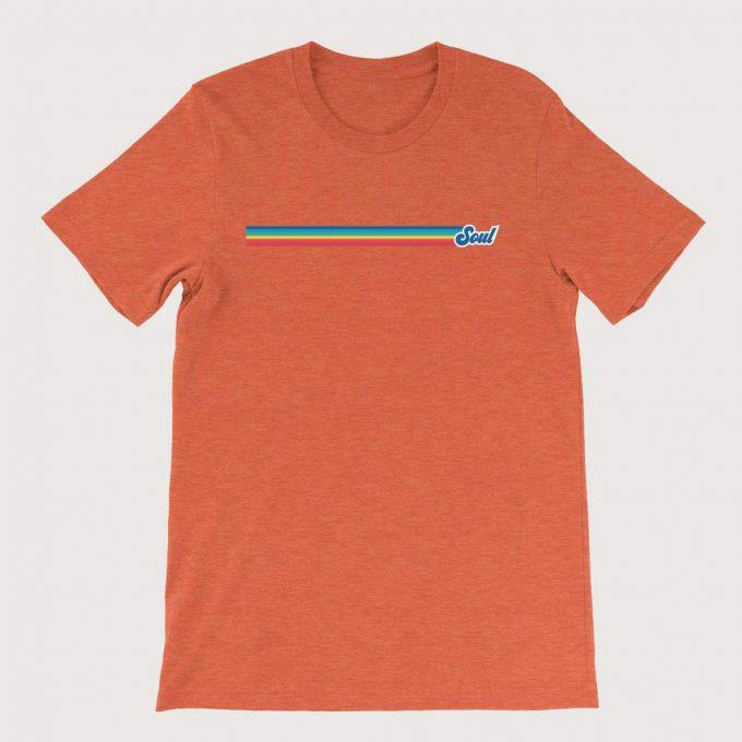 Retro Rainbow Soul Music Mens ( Unisex) T-Shirt Orange Heather
