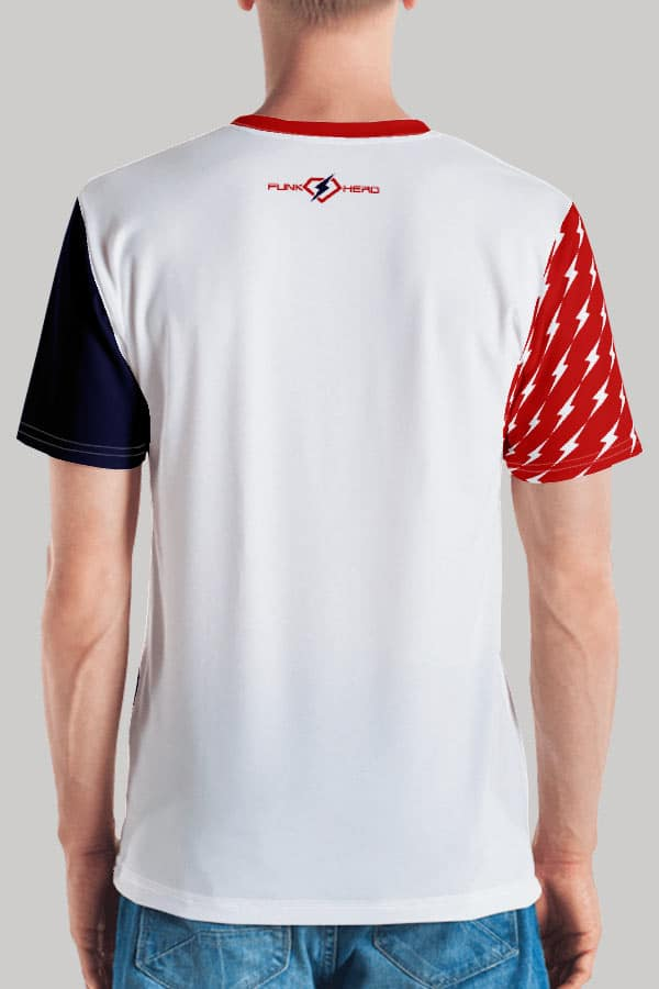 Retro American Thunderbolt Spangled Banner Red, White and Blue All over print Men's Tee Back