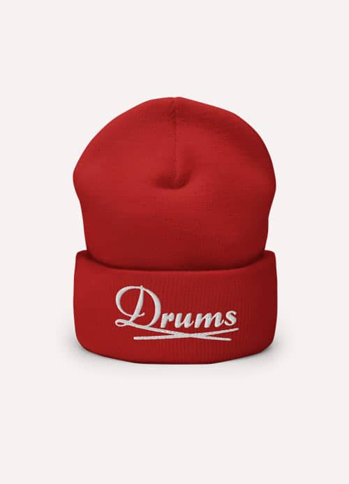 Embroidery Cuffed Beanie For Funk Drummer Red