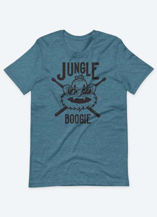 Jungle Boogie Drummer Monkey Homage To Kool & The Gang Graphic Tee Deap Teal Heather
