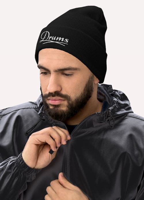 Man Wearing Embroidery Cuffed Beanie For Funk Drummer Black