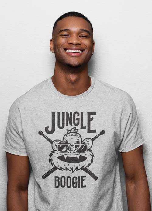 Man Wearing Jungle Boogie Drummer Monkey Homage To Kool & The Gang Graphic Tee Athletic Heather