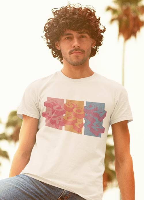 Man wearing Soul Funk and Jazz Retro Vintage Squares Tshirt White