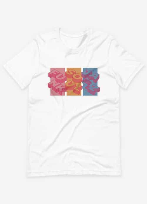 Soul Funk and Jazz Retro Vintage Squares Tshirt White